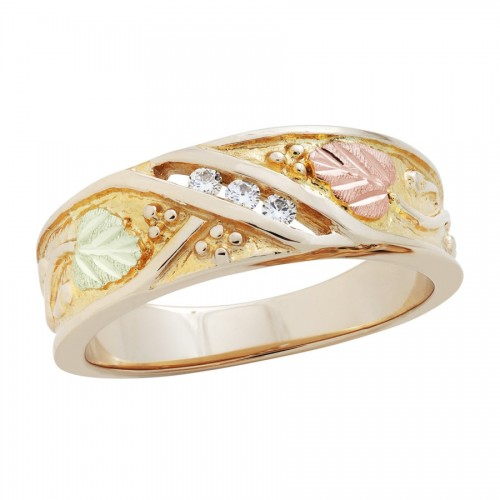 WR26. 14K Black Hills Gold Mens Diamond Wedding Ba...
