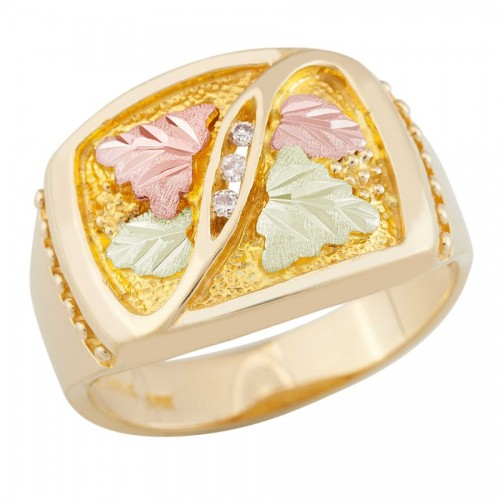 Black Hills Gold Mens Three Diamond Ring from Land...