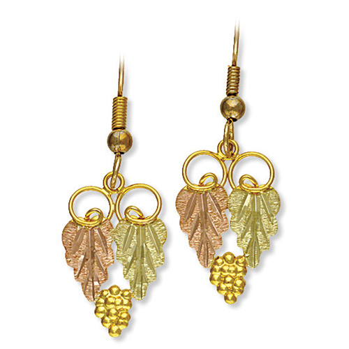 Black Hills Gold Earrings with Grapes