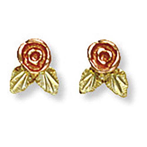 Black Hills Rose Earrings in 10K Gold