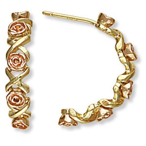 10K Black Hills Gold Semi Hoop Earrings with Roses
