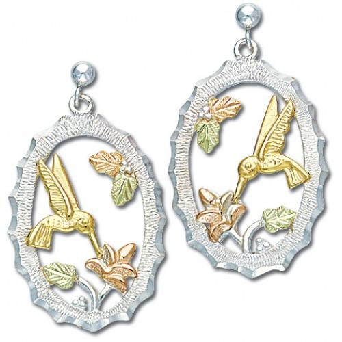 Black Hills Gold Humming Bird Earrings in Silver