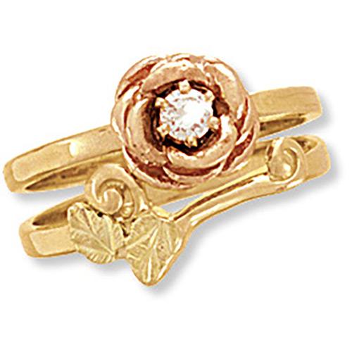 14k Black Hills Gold Rose Wedding Ring Set