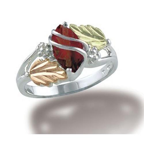 10 X 5 mm Oval Garnet Black Hills Silver Ring