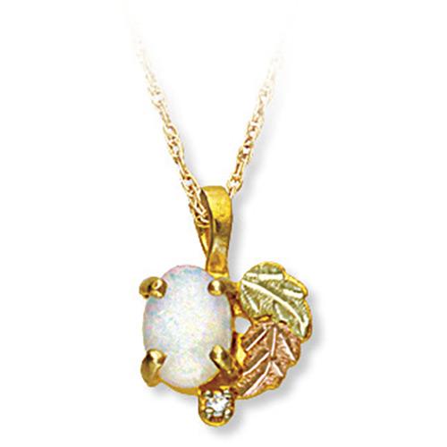Black Hills Gold Opal Pendant with Diamond