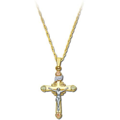 Black Hills Gold 10K Crucifix Pendant Necklace