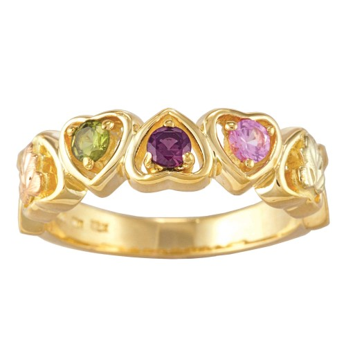 Black Hills Gold Mothers Ring -  1-3 Birthstones b...