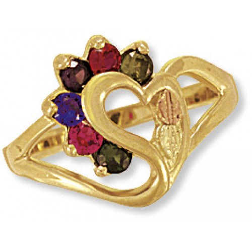 Black Hills Gold Mothers Ring -  2-7 2.5MM Genuine...