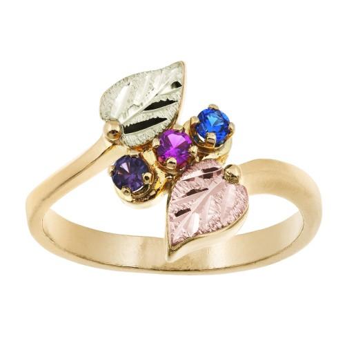 Black Hills Gold Mothers Ring -  2-6 2.5MM Genuine...