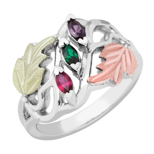 Silver Mothers Ring - 2-6 Birthstones