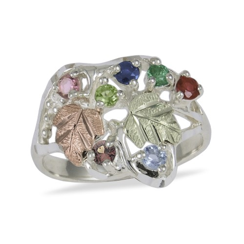 Sterling Silver Mothers Ring with 2.5MM Genuine Bi...