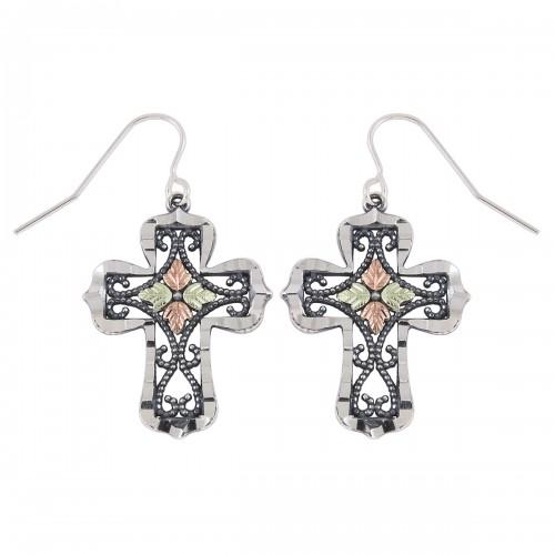 Oxidized Black Hills Silver Cross Earrings