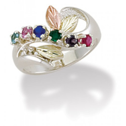 Black Hills Mothers Ring in Sterling Silver with  ...
