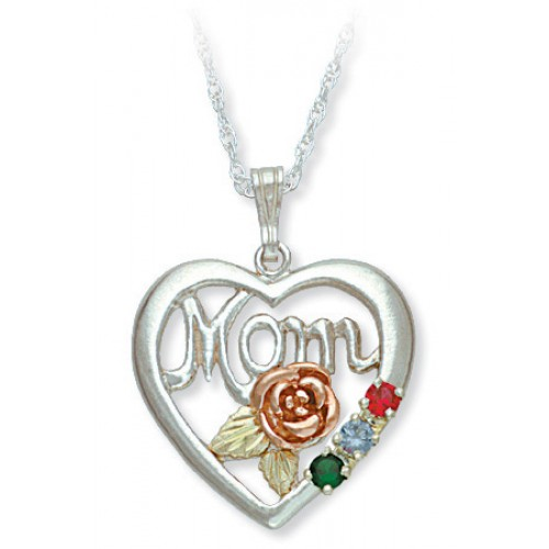 Sterling Silver 'Mom' heart pendant -  1-6  2.5 MM...
