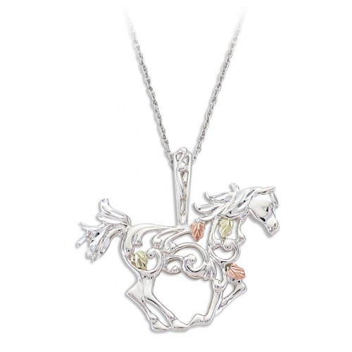 Black Hills Gold Horse Pendant in Sterling Silver