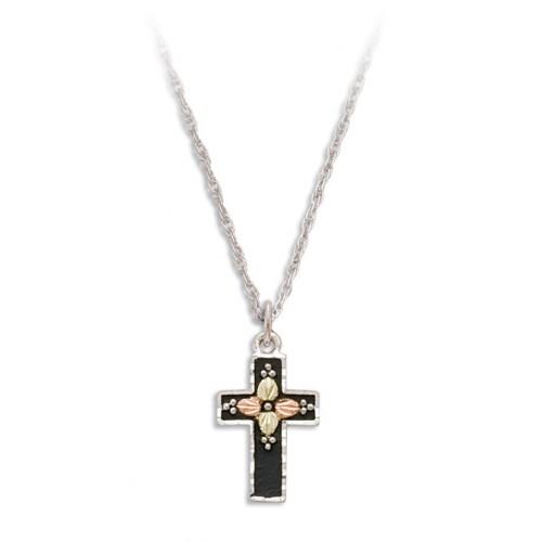 Black Enamel Cross in Sterling Silver