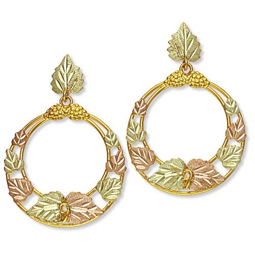 Black Hills Gold Circle Earrings