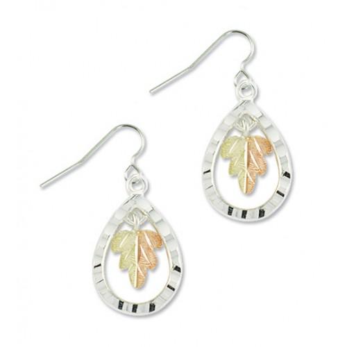 Black Hills Silver Teardrop Earrings with a 12k Go...