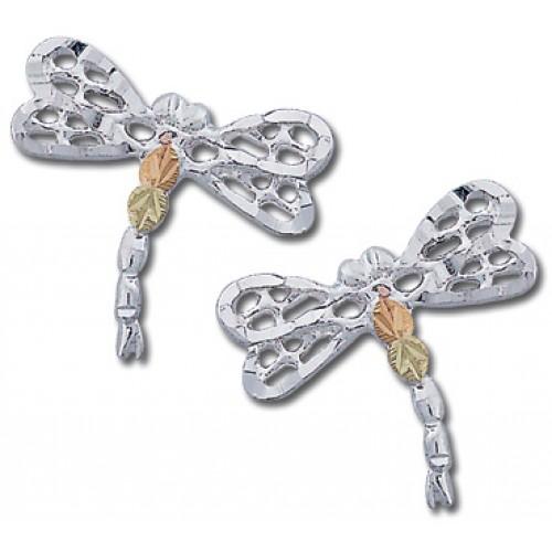 Black Hills Gold Dragonfly Earrings in Silver