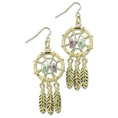 Black Hills Gold 10k Dreamcatcher Earrings