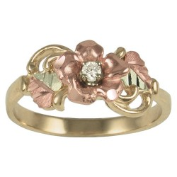 10K Gold  Anniversary Ring with Rose and Diamond