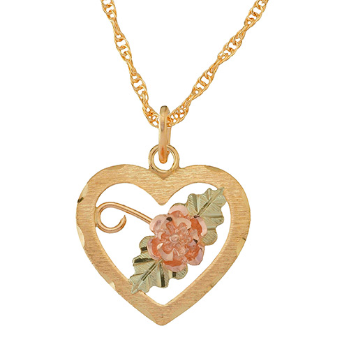 Heart shaped 10K Black Hills Gold Flower Pendant