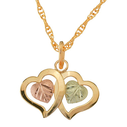 Double Heart Black Hills Gold Pendant