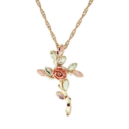 Rose Black Hills Gold Cross Pendant
