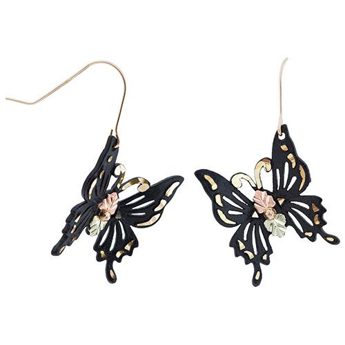 Black Powder Coated Butterfly Earrings in Black Hi...