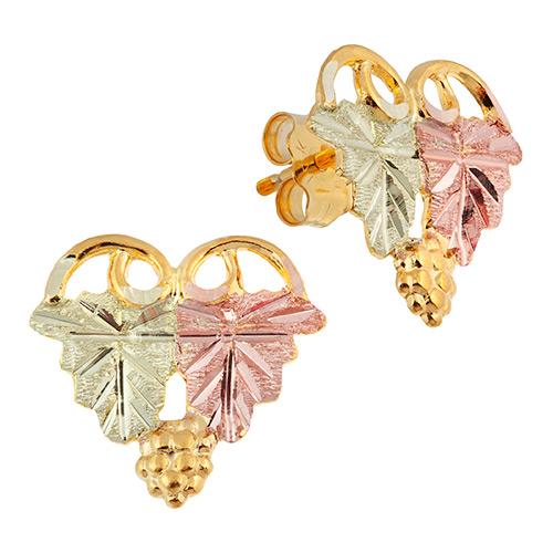 Black Hills Gold Heart Shaped Stud Earrings