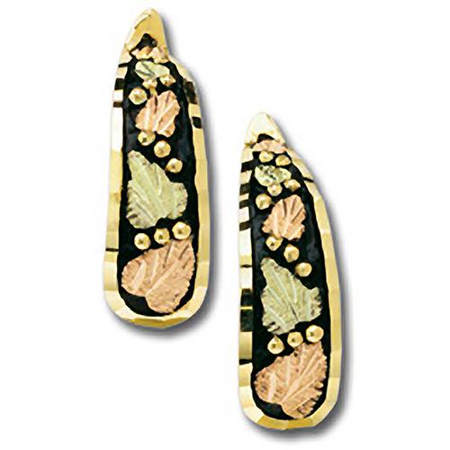 10k Gold Antiqued Black Hills Hoop Earrings