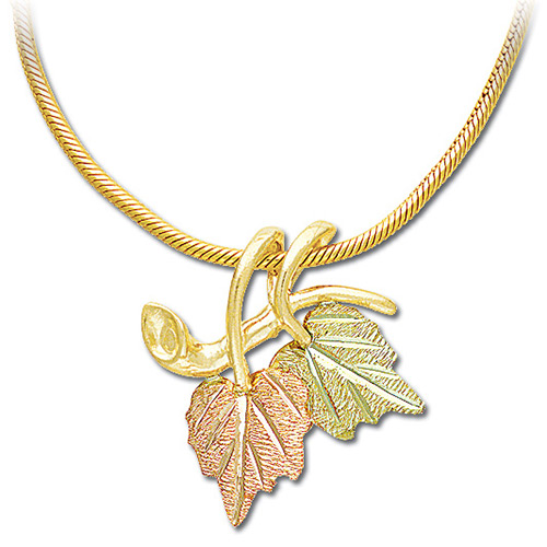 Black Hills Two Leaf 10k Gold Pendant with Chain