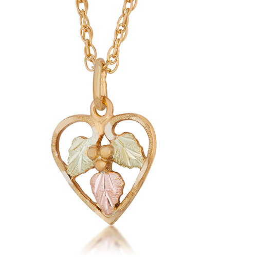 Heart Black Hills 10k Gold Three Leaf Pendant