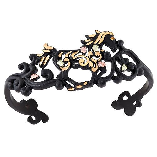 Black Powder Coat Horse Cuff Bracelets