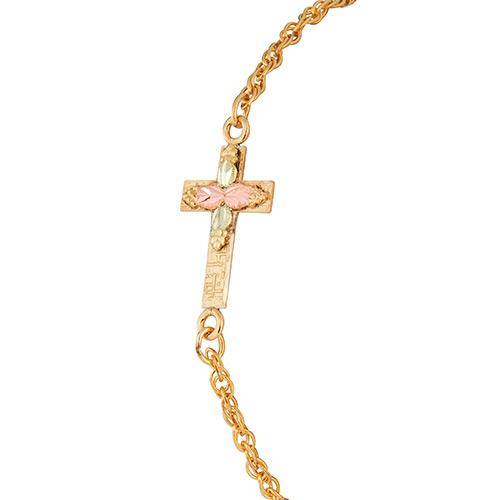 10k Black Hills Gold Sideways Cross Bracelets