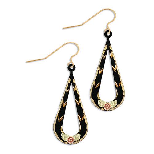 Black Enamel Dangle Earrings