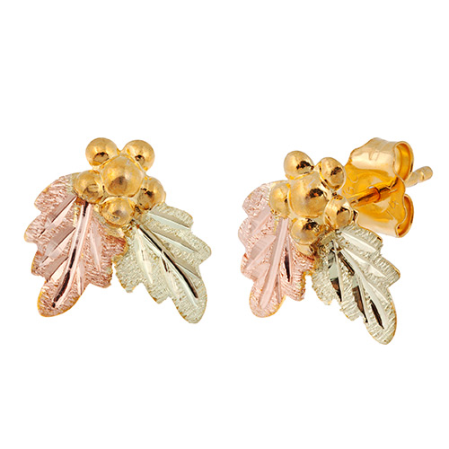10k Gold Earrings with Grapes and Leaves