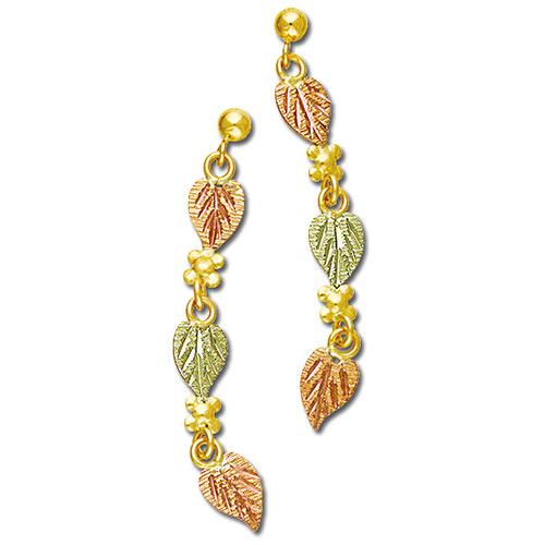 10k Gold Ball Post Dangle Earrings