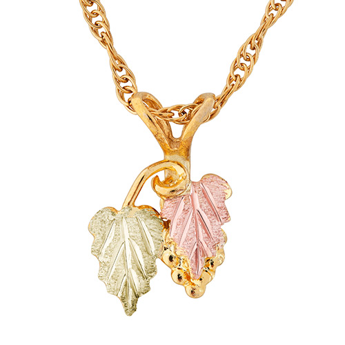 10k Gold Necklace with Grapes and Leaves