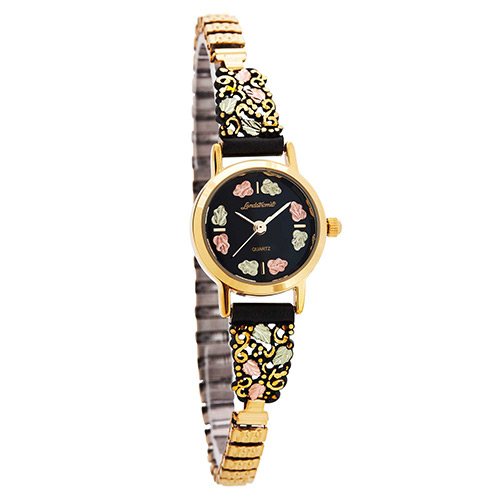 Women Black Hills Gold Powder Coated Watch