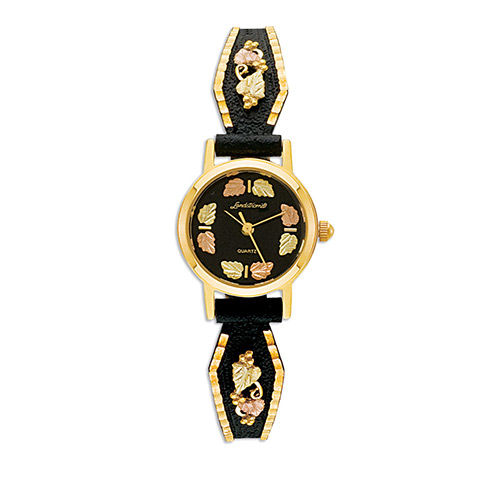 Ladies Black Hills Gold Powder Coated Watch with 1...