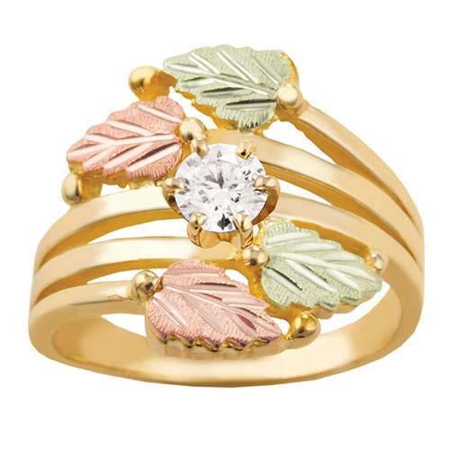 Black Hills Gold Layered Vines Ring with White CZ