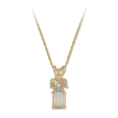 Opal and Blue Topaz Gold Pendant