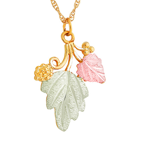10k Gold Grapes and Leaves Pendant