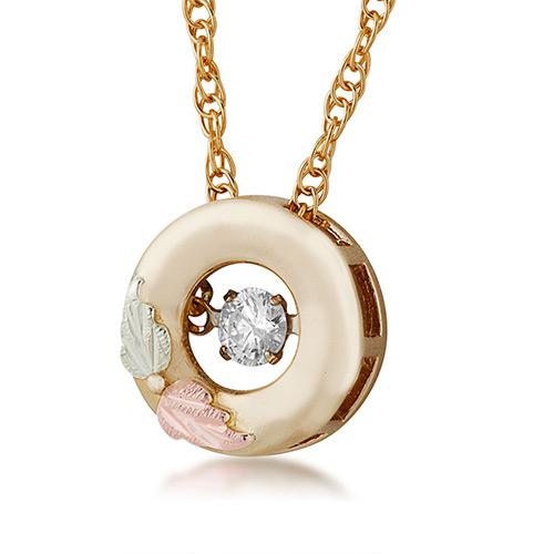 10K Black Hills Gold Diamond Pendant with .01 ct r...