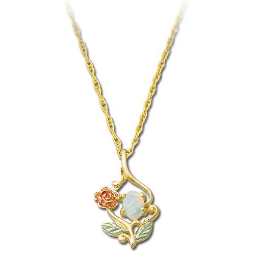 10k Gold Opal Rose Necklace