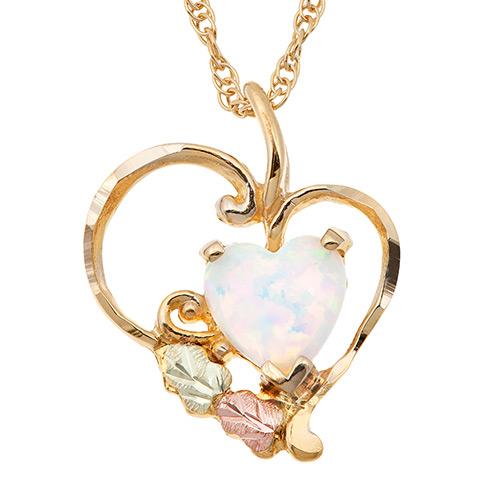 Heart Opal 10k Gold Pendant