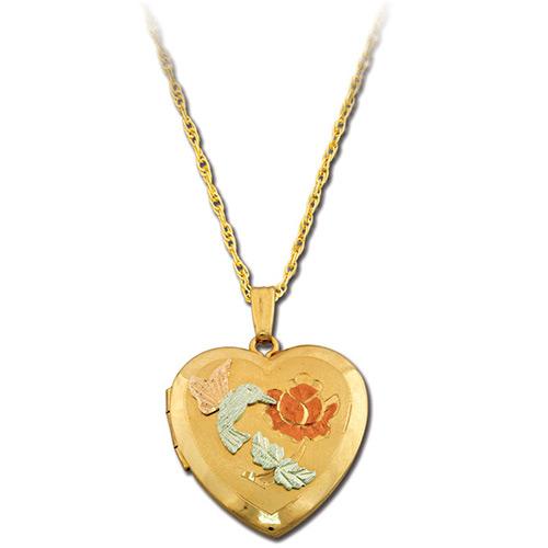 Hummingbird Gold Heart Locket
