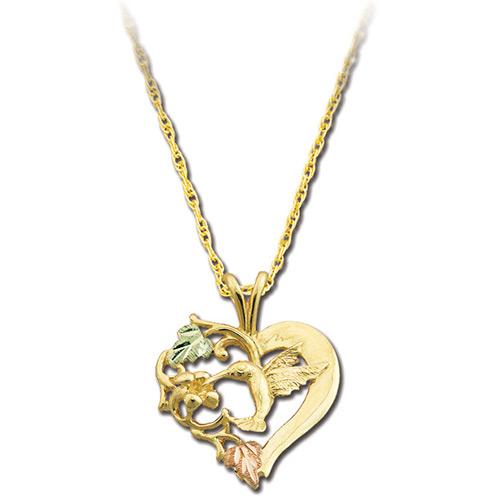 Heart Hummingbird Pendant Necklace