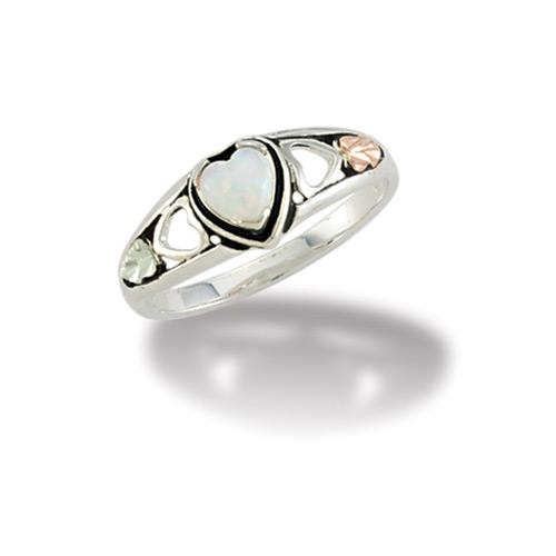 Black Hills Silver Heart Opal Ring